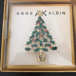 New Anne Klein Bejeweled Christmas Tree w Star Pin